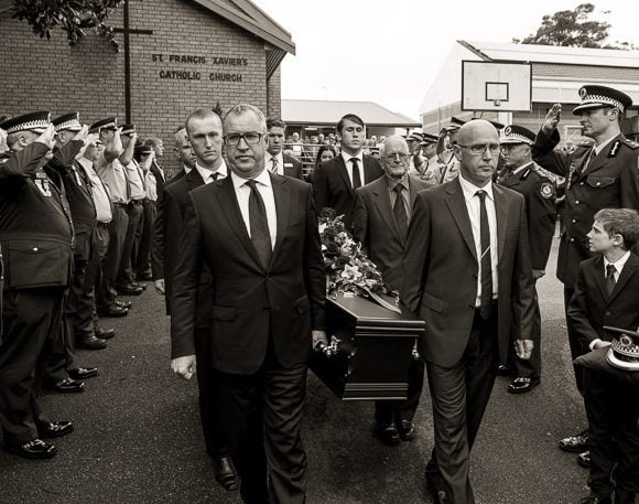 A police funeral in Newcastle