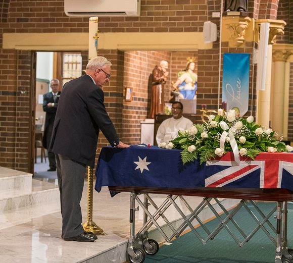 A veteran's funeral at St Martha's Catholic Church, Strathfield